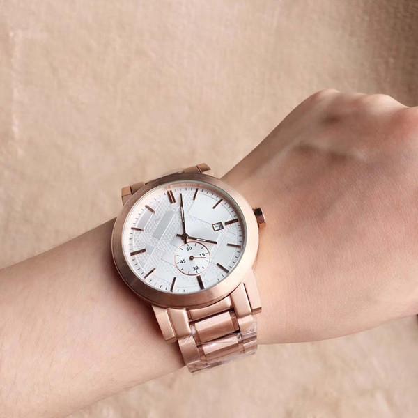 Nuevo Desigh 42MM Dress Rose Gold Relojes para hombre Cuarzo Batería Cronógrafo Fecha Reloj para hombres Pulsera de acero inoxidable Dial blanco