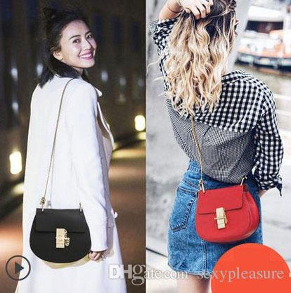 2016 Hot femmes en cuir véritable chaîne-poignée sac dame en cuir véritable sac à bandoulière vache en cuir sac à bandoulière livraison gratuite