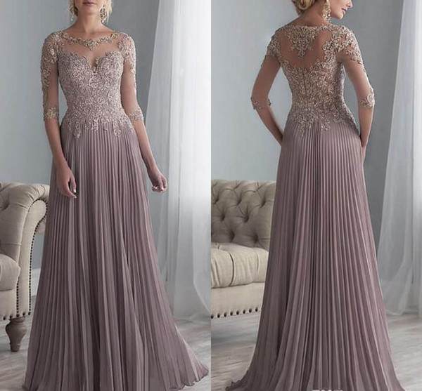 top popular Elegant Lace Appliqued Mother Of The Bride Dress Cheap 3 4 Long Sleeves Formal Wedding Guest Gown Cheap Plus Size Mother Wedding Dresses 2019