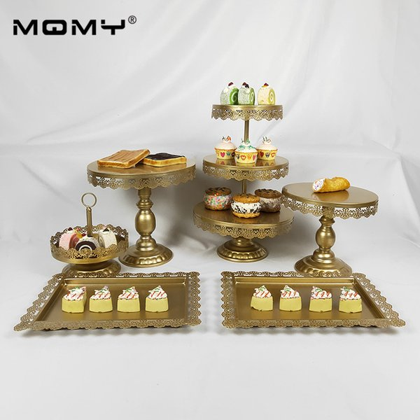 Crystal Metal Cake Stand Holder 6Pcs/Set Cupcake Serving Stand Display Rack Birthday Party Wedding Decoration Gold/White