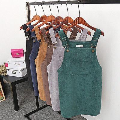 Suspender Dress Short Girls Dress Women Vintage Sleeveless Casual Overall Dresses Mini Strap