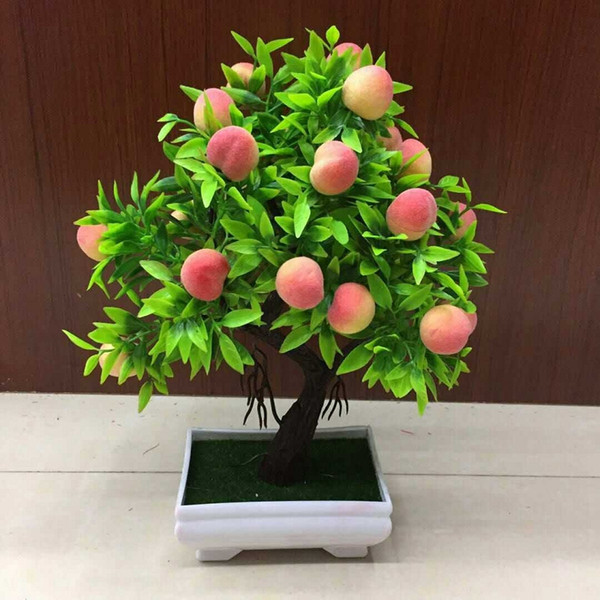 Artificial Plant Bonsai Orange plastic pots+Small Fruit Tree Potted For Home Living Room Flower Set Shop Hotel Party Decor