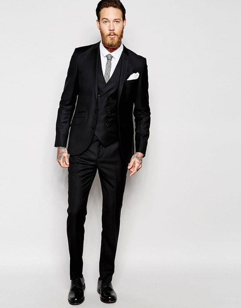 Hot Sell Slim Fits Groom Tuxedos Notch Lapel Mens Coat Prom Blazers Business Suits (Jacket+Pants+Vest+Tie) W:027