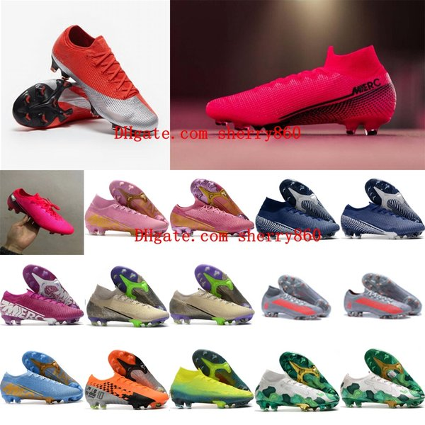 best selling 2020 top quality mens soccer shoes Mercurial Vapors XIII Elite FG soccer cleats CR7 Ronaldo neymar football boots Tacos de futbol