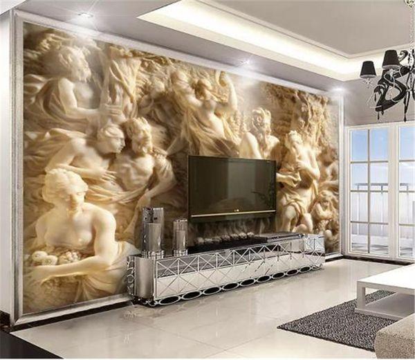 Fond D'écran 3D En Relief Trois Caractères De La Mythologie Grecque Intérieur Porche Fond Décoration Murale Papier Peint