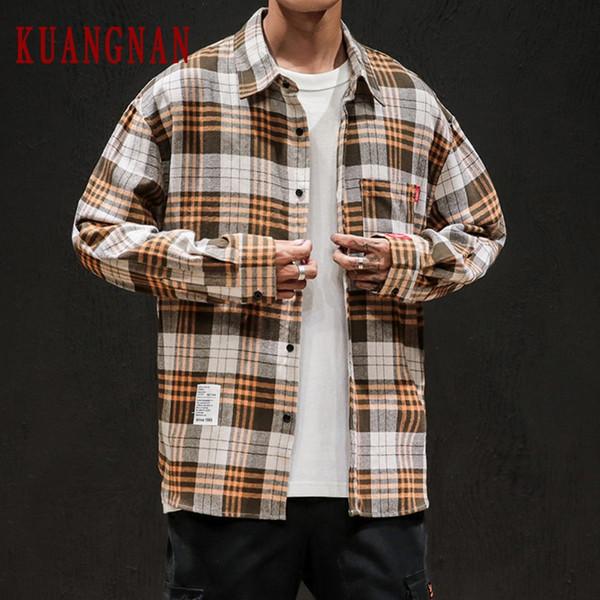 KUANGNAN coton à carreaux Chemise à manches longues hommes Streetwear hommes Chemise à manches longues Chemisier Chemises Hip Hop 5XL 2019 Automne