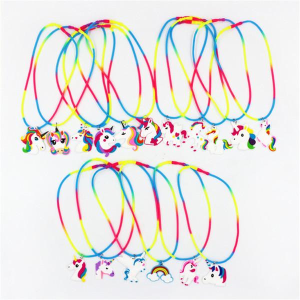 Rainbow Unicorn Pendant cartoon doll Necklaces Rubber Toys Birthday Party Children Girls Best PVC Chain Jewelry Accessories 500pcs