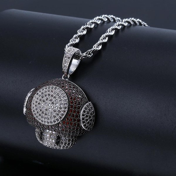 Cute cartoon Pendant with mushroom head Colourful zircon-filled couple necklace accessories for men and women