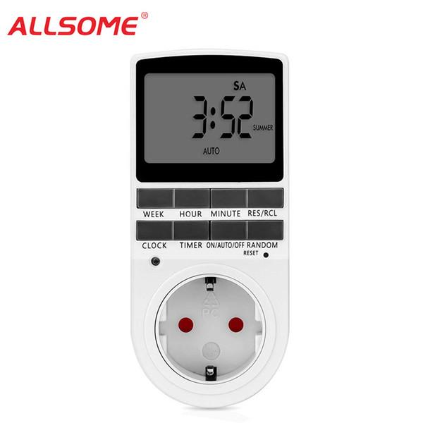 ALLSOME 230V 50HZ 7 Day 12/24 Hour Programmable Electronic Digital Timer Switch EU Plug Kitchen Outlet Timer HT2010