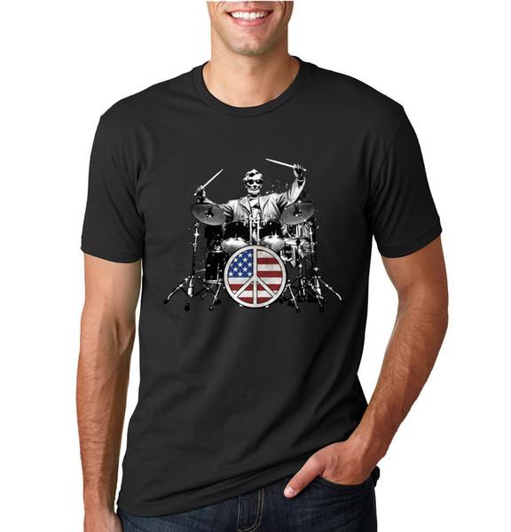Başkan Abraham Lincoln Kaya Davulcu Komik Müzik T-Shirt Erkek Grafik Tee Komik ücretsiz kargo Unisex Rahat