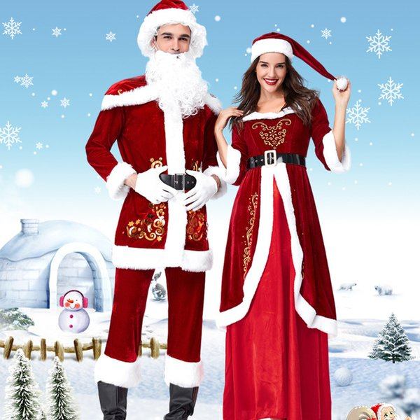 Christmas Queens.2019 Christmas Queen S Dress Santa Suit Europe America Christmas Party Set Xmas Cosplay Costume Autumn Winter New For Women Men Girl Group Halloween