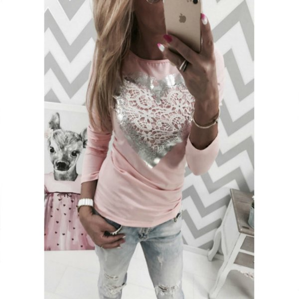 Korean 2018 Spring Casual T Shirt Lace Heart Shape Pink Round Neck Full Sleeves Graphic Tees Women Tops Female T-shirt