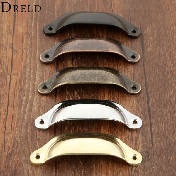 RELD 2Pcs 98*35mm Retro Kitchen Drawer Cabinet Door Handle Furniture Knobs Hardware Cupboard Antique Brass Shell Pull Handles DRELD 2Pcs ...