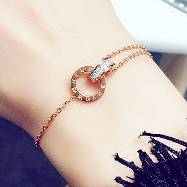top popular Simple Titanium Steel Roman Digital Bracelet Personality Jewelry Girlfriends Charm Bracelets With Women Girl Bangle Link 2021