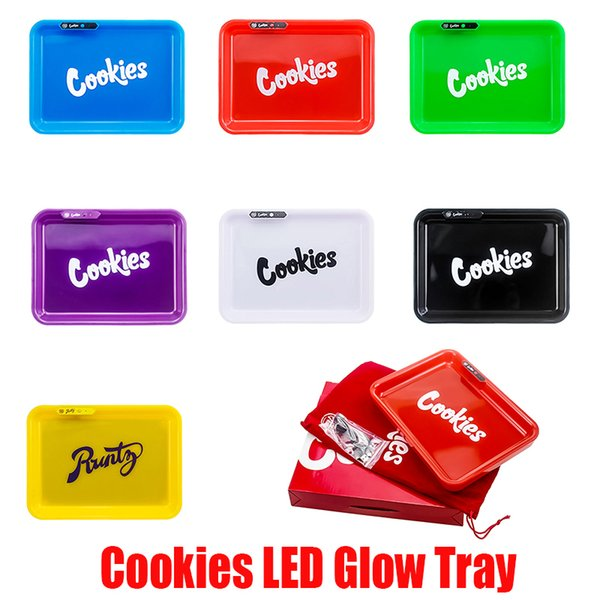 top popular LED Glow Tray Rechargeable Cookies SF California Runtz Skittles Alien Labs Featured Dry Herb Rolling Tobacco Storage Holder In Stock 2021