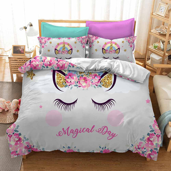 Magical Cartoon Cute Unicorn Duvet Cover Set For Kids Adults Colorful Bedspread Pillowcase Duvet Cover Sets Twin Full King Size