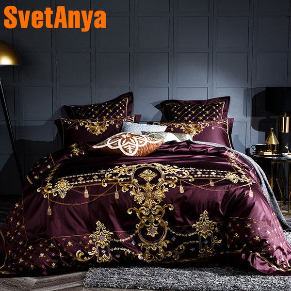 Svetanya embroidery Bedding Sets egyptian Cotton Bedlinen Queen Double King size (flat sheet + Pillowcase +Duvet Cover) Wine