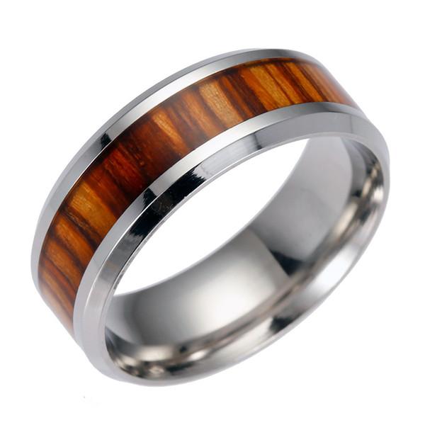 Anillos de madera para hombres de acero inoxidable Anillo de acero de titanio de madera para hombres de alta calidad Para las mujeres Joyería de moda a granel