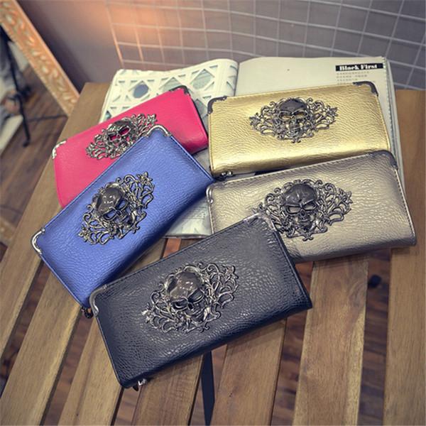 1pc New Fashion Metal Skull Pattern Long Wallet Ladies Handbag Zipper Skeleton Purse Clutch Card Holder Wallet Carteira Feminina