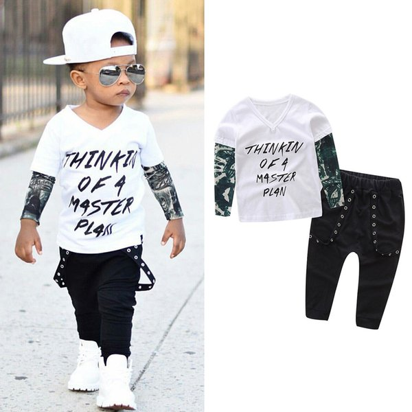 2 PCS Bebê Recém-nascido Menino Roupas de Moda de Manga Longa Carta de Impressão T-shirt + Calças + Headband Baby Boy Set Casual Roupas Infantis