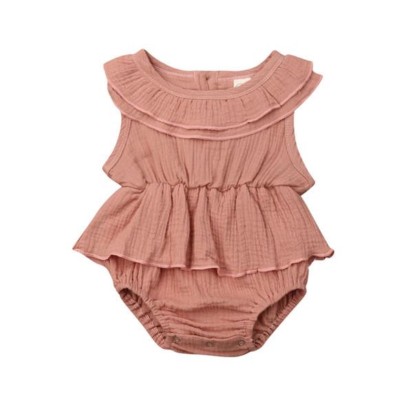 UK Newborn Kids Baby Girls Clothes Sleeveless Romper Dress Cotton/&Linen Outfit