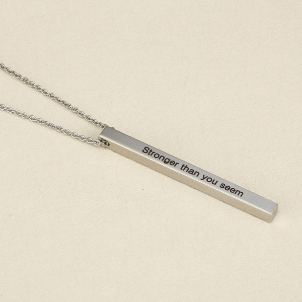 "Stainless Steel Lettering Inspired Choker Necklaces ""Stronger Than You Seem"" Fashion Pendant for Women Man Statement Jewelry 5*61MM"