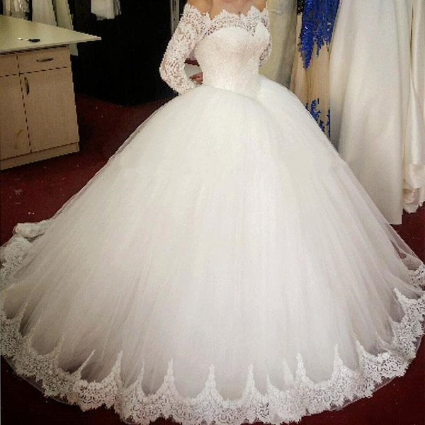 Elegant Tulle Ball Gown Wedding Dresses Long Sleeve Off Shoulder Floor Length 2020 Princess Lace Bridal Wedding Gowns Sparkly Sequins Cheap