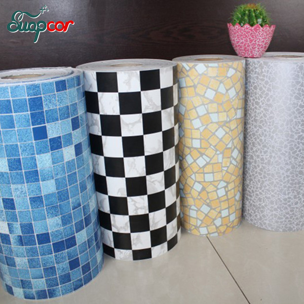 5m 10m New Bathroom Tiles Waterproof Wall Sticker Vinyl Pvc Mosaic Self Adhesive Anti Oil Stickers Diy Wallpapers Home Decor White Floor Tiles White