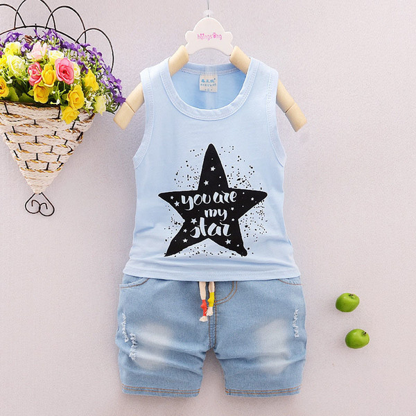 good quality 2019 baby boys clothing summer sets star cotton sleeveless vest+ jeans shorts Toddler infant boys sport suit outfits