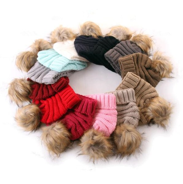 13 color kids pompom hat Knitted Fur Poms Beanie Winter Luxury Cable Slouchy Skull Caps Fashion Beanie Outdoor Hat KKA6328