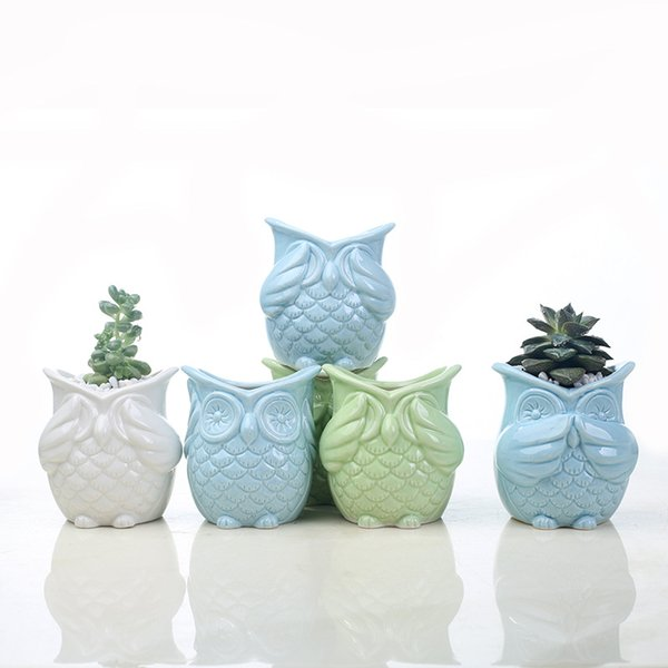 Fashion Owl Flower Pot Breathable Animal Owl Ceramics Flowerpots Anti Wear Corrosion Resistant Mini Planters Free DHL