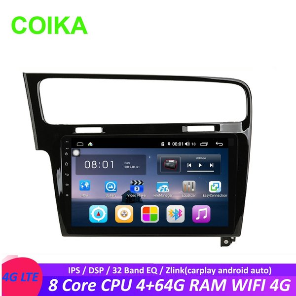 COIKA 8 Core 10.1 `` Android 8.1 System Receptor estéreo de DVD del coche para Volkswagen Golf 7 2013-2017 GPS BT 4 + 64G RAM Zlink SWC WIFI 4G DSP OBD