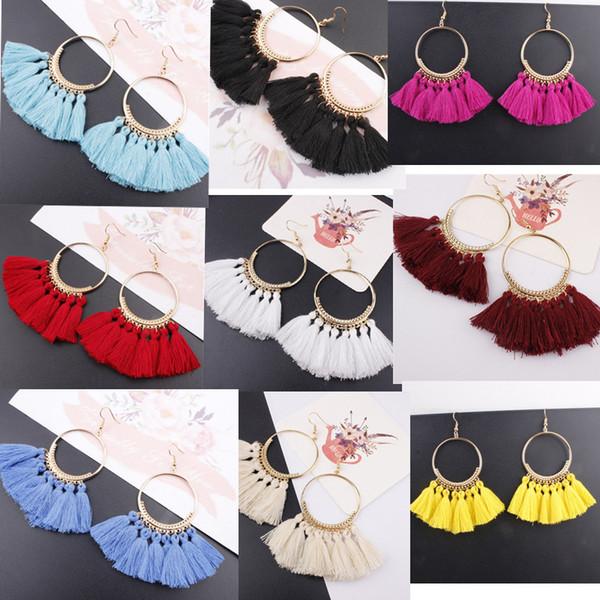 16 colori orecchini nappa per le donne etnici orecchini a goccia grandi gioielli di moda boemia alla moda in cotone corda frangia lungo ciondola
