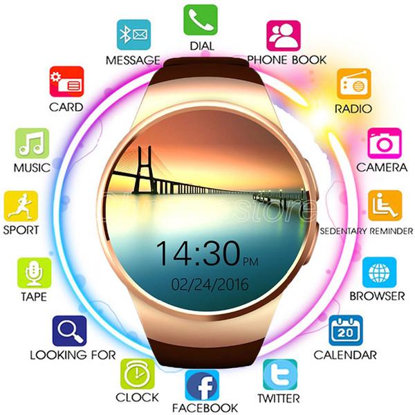 Bluetooth Smart Watch d'IPS Round écran tactile résistant à l'eau avec KW18 puce montre la carte SIM sous sommeil moniteur de fréquence cardiaque navire par DHL