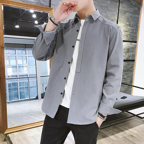 2019 Spring New Fashion High quality leisure home Newest Mens Shirt Candy Slim Fit Luxury Casual Stylish Dress Shirts 4 Colours Plus Sizes