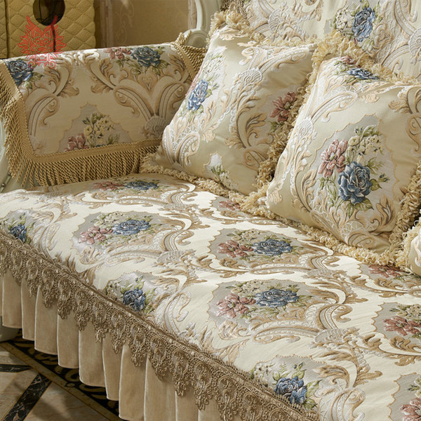 Super Europe Style Luxury Floral Jacquard Embroidery Sectional Sofa Covers Ruffles Lace Spliced Slipcovers Fundas De Sofa Sp5406 Dining Chair Covers For Gmtry Best Dining Table And Chair Ideas Images Gmtryco