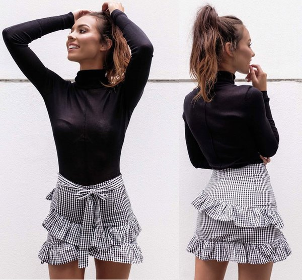 Women's Lady Stretch Plain High Waist Skater Flared Ruffle Plaid Striped Pleated Skirt A Line Short Mini Skirts