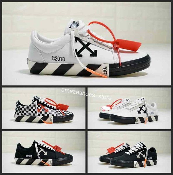 095f407fe5dea6 New VANS OFF 2018 Athletic FW18 White Vulc Low Top Sports Designer Black  Checkboard Old Skool Skate Women Canvas Designer Shoes Chaussures