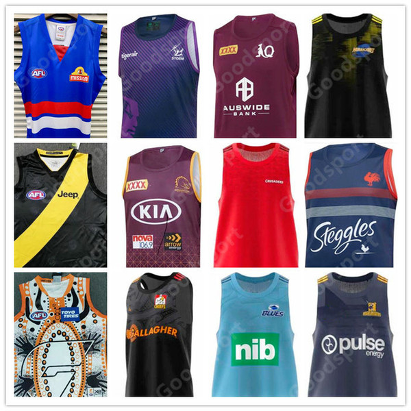 best selling 2020 RUGBY Vest Maroons HIGHLANDERS ROOSTERS Storm Hurricans Crusaders Bronco Chief Blue Giant Richmond Tiger AFL Western bulldog Jerseys 21