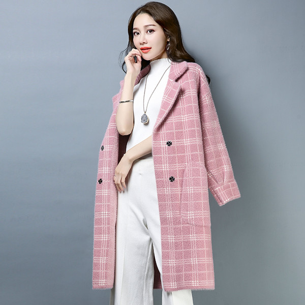 2019 New Autumn Winter Fashion Faux Fur Plaid Coats Women Casual Turn-down Collar Wide-Waisted Coat Slim Windproof jacket Mw760