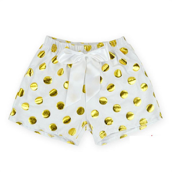 Baby Shorts Gold Dots Baby Girl Bloomers 2016 Summer Baby Panties Infant Diaper Cover with Big Bow Kid PP Pants Pompom Clothes