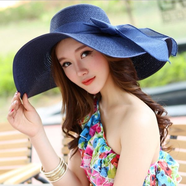 2018 New Summer large brim beach sun hat for women UV protection Female cap with big head foldable style fashion lady's sun cap