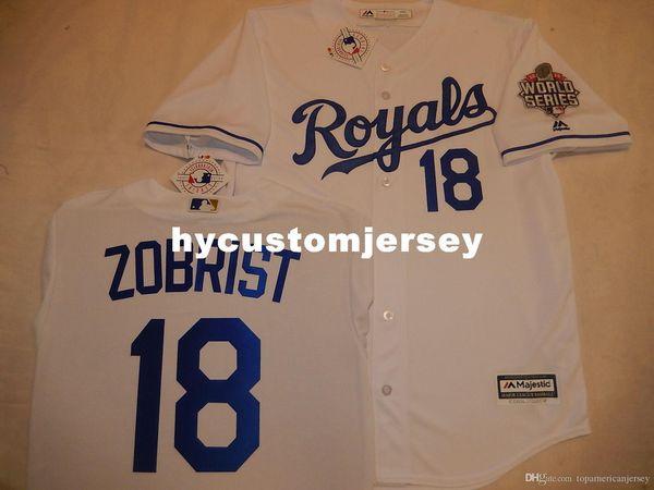 Cheap custom Kansas City #18 BEN ZOBRIST 2015 WORLD SERIES Cool Base Jersey WHITE Mens stitched jerseys Big And Tall SIZE XS-6XL For sale