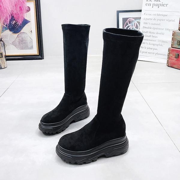 Mode Bottes Plate-forme des femmes en tissu stretch Bottes Femme Printemps Automne Chaussures Femme jusqu'aux genoux Bottes Femme Boot Chaussures