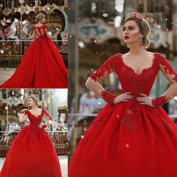 Vintage Red Ball Gown Prom Dresses Major Beaded Lace Sheer Long Sleeves Sexy Illusion Back Queen Princess Quinceanera Dress Evening Gowns