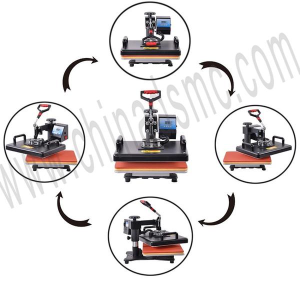Promotions 30*38CM 8 in 1 Combo Heat Press Machine 2D Sublimation Printer Printing Machine Cloth T-shirt Cap Mug Plates Case