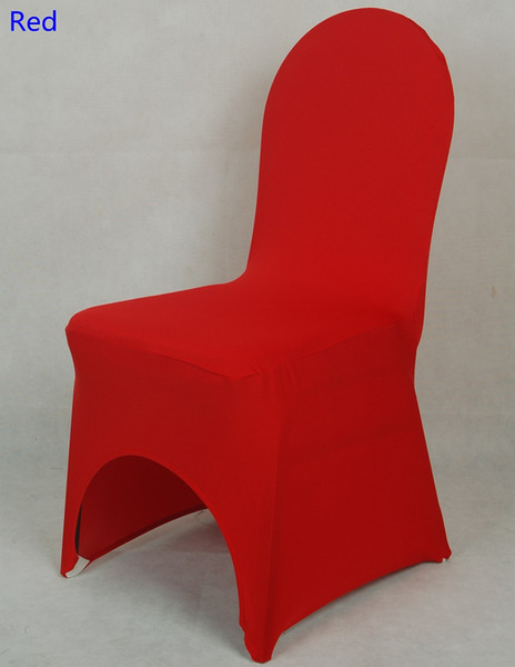 Red colour lycra universal chair cover for wedding decoration spandex chair cover on sale banquet chair arch front open