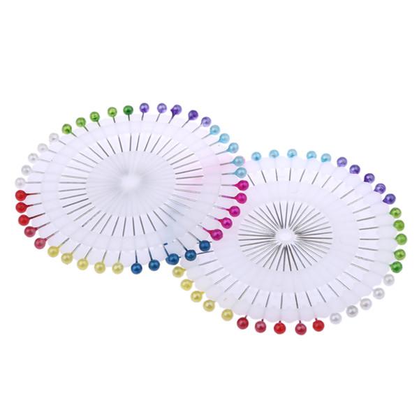 480 Adet / 12 Disk 1.5 inç Renkli Yuvarlak Inci Düz Kafa Iğneler Terzilik Dikiş Pin Craft Pimleri Iğne Dikiş Araçları