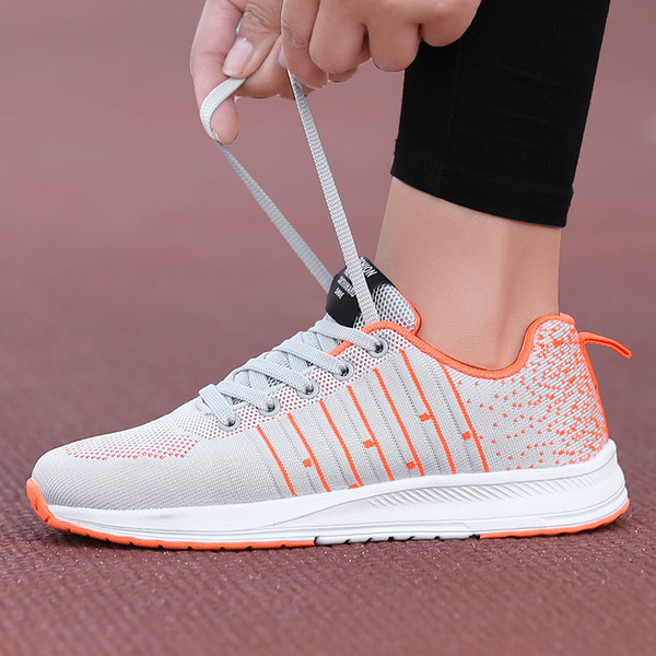 Mesh Running Shoes For Women Stripe Hit Color Ultra Light Sneakers Non Slip Ladies Trainers Sport Jogging Walking Shoes Lace Up