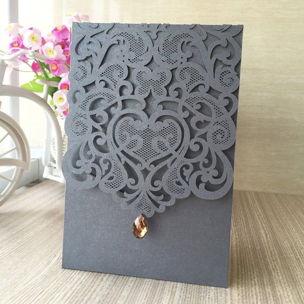 Wedding Invitation Cards Gem Decoration Envelope Flower Sculpture Using To Festival Blessing Valentine's Theme Party Ceremony